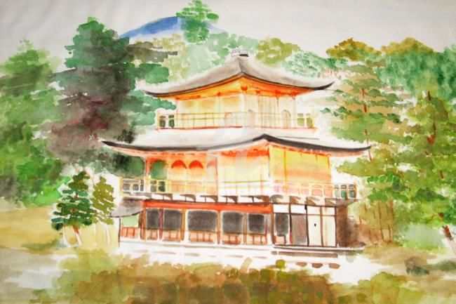 une maison de style chinois dans la nature - Painting,  9.1x11.8 in, ©2012 by ika -                                                                                                              Architecture, maison