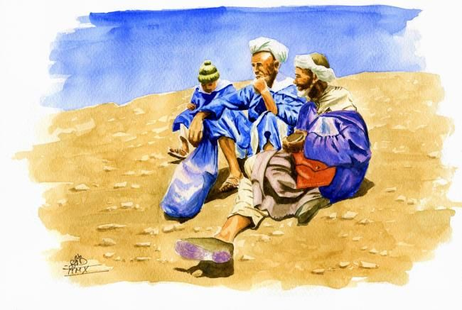 Education Touareg... - Painting,  30x20 cm ©2010 by Saïd Serge BERKANE -                            World Culture, Touareg / Hommes Bleus / Berberes