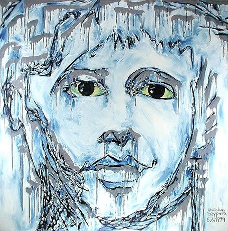 ID 343 Mensch - Painting,  74x74 cm ©1994 by Stacho -