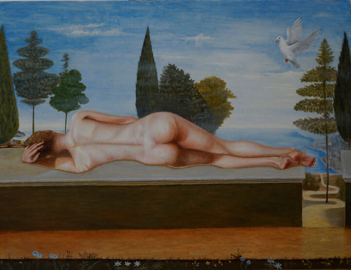 """Painting titled """"Before the annuncia…"""" by Stan Bert Singer, Original Art, Oil Mounted on Wood Panel"""