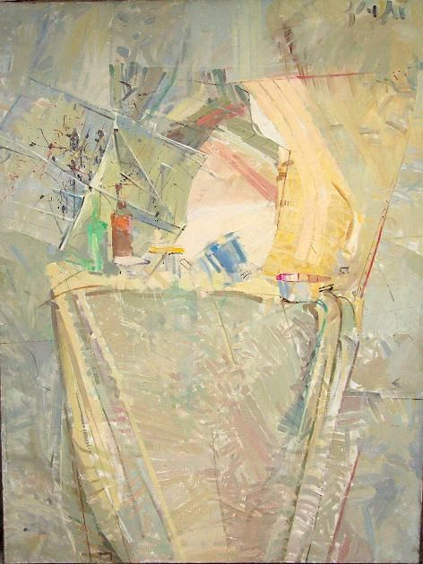 Still Life - Sunrise - Painting,  130x180 cm ©1992 by Stan Bigda -            Oil painting of a still life in delicate colours.