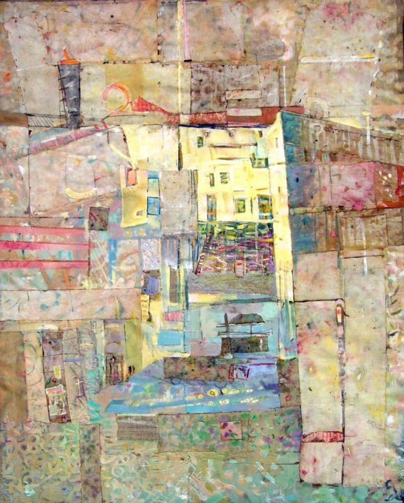 Old Town - Painting,  128x102 cm ©1992 by Stan Bigda -                                                            Contemporary painting, Canvas, Cities, Painting of an old town.