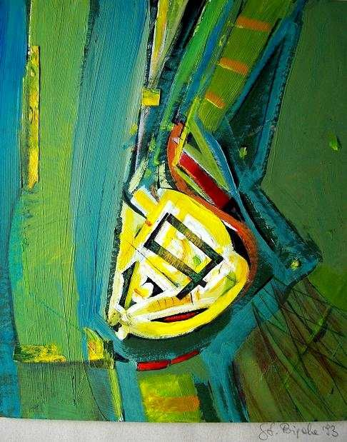 Study II - Painting,  30x42 cm ©1993 by Stan Bigda -                            Contemporary painting, Abstract painting, optical play