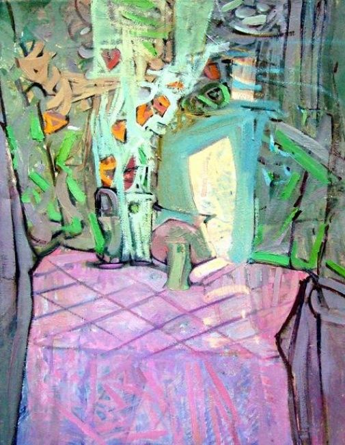 Still life with mirror - Painting,  72x93 cm ©1994 by Stan Bigda -                            Contemporary painting, Oil painting, stiil life