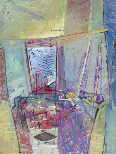 Still life with washboard - Painting,  66x92 cm ©1996 by Stan Bigda -                            Contemporary painting, Brisk painting of a still life with washboard