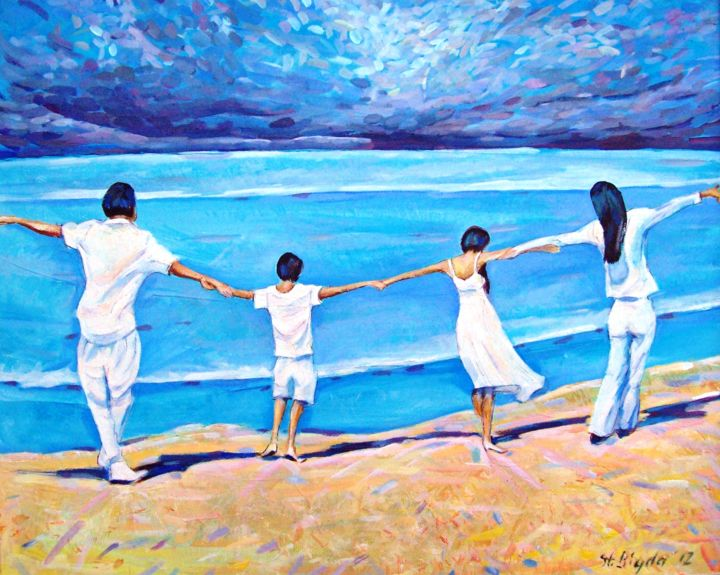 The Big Wave - Painting,  42x30x1.5 cm ©2016 by Stan Bigda -                                                            Figurative Art, Canvas, Landscape, seaside, sunshine, beach, family, danger, tornado, tsunami