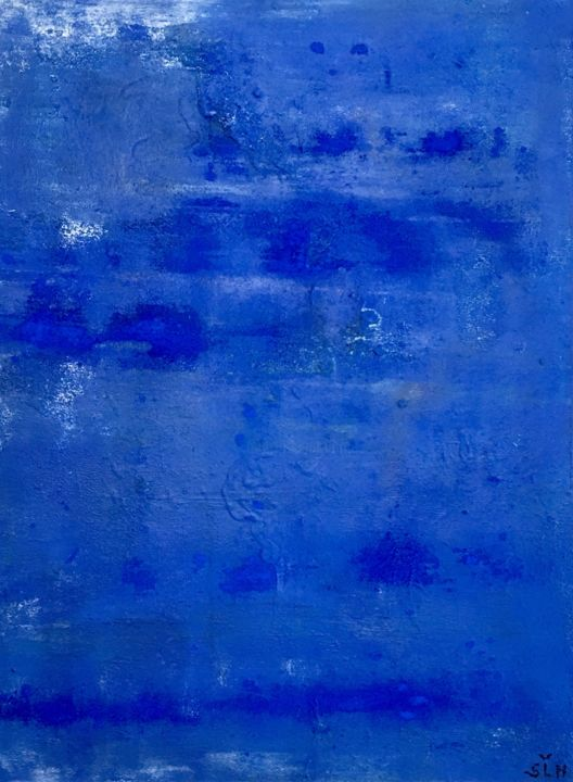 SLH-artwork 3 - bleu - Painting,  31.5x23.6x1.6 in, ©2017 by Sabine Leclercq Haanaes -                                                                                                                                                                                                                                                                                                                                                                                                                                                                                                                                                                                                                                          Abstract, abstract-570, Cotton, Abstract Art, art abstrait, abstract art, acrylic painting, peinture acrylique, art4sale, paintingforsale, freestyle painting, interior design, decoration interieure