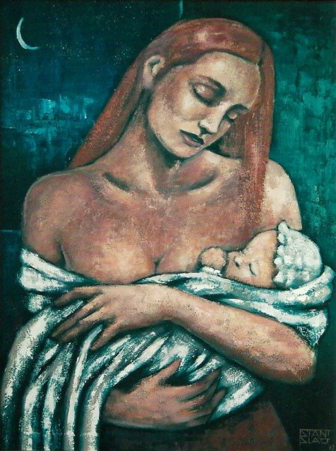 Maternity - Painting,  31.5x23.6 in, ©2010 by Stanislao -                                                                                                                                                                                                                                                                                                                  Figurative, figurative-594, Family, Maternità, Maternity, figurative