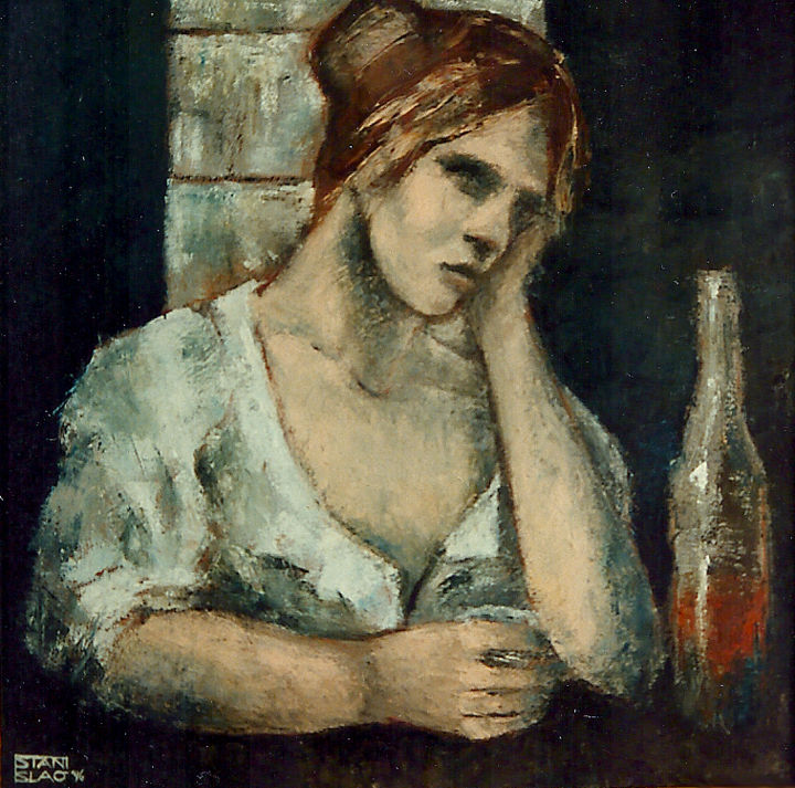 Melancholy - Painting,  23.6x23.6 in, ©1996 by Stanislao -                                                                                                                                                                                                                                                                      Figurative, figurative-594, People, Melancholy, figurative
