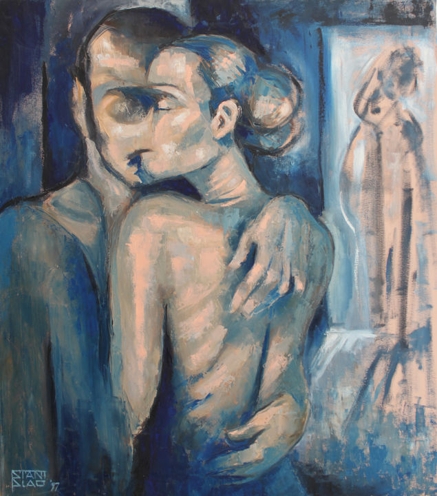 Lovers - Painting,  35.4x31.5x0.8 in, ©1997 by Stanislao -                                                                                                                                                                                                                                                                                                                                                                                                                                                                                                                                                                                          Figurative, figurative-594, Body, Family, artwork_cat.Love/Romance, Nude, nude, oil, couple, lovers, embrace, oil on canvas