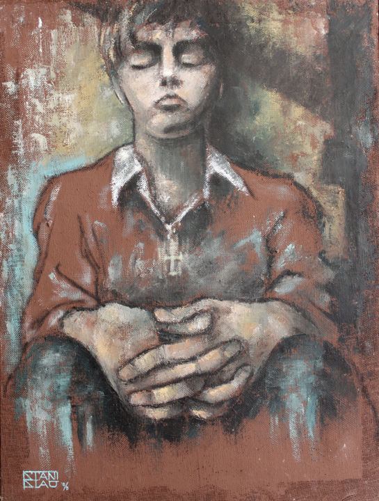 Faith - Painting,  31.5x23.6 in, ©2004 by Stanislao -                                                                                                                                                                                                                                                                                                                                                                                                                                                                                                  Figurative, figurative-594, Body, Family, People, Women, oil on canvas, faith, figurative art, portrait