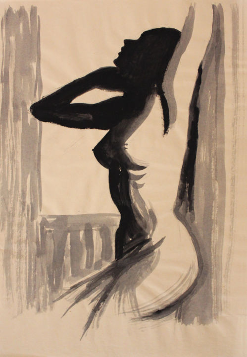 Silhouette - Drawing,  19.7x11.8 in, ©1998 by Stanislao -                                                                                                                                                                                                                                                                                                                                                                                                                                                                                                  Figurative, figurative-594, Nude, nude, female body, nude woman, figurative nude, silhouette, nudo, nu
