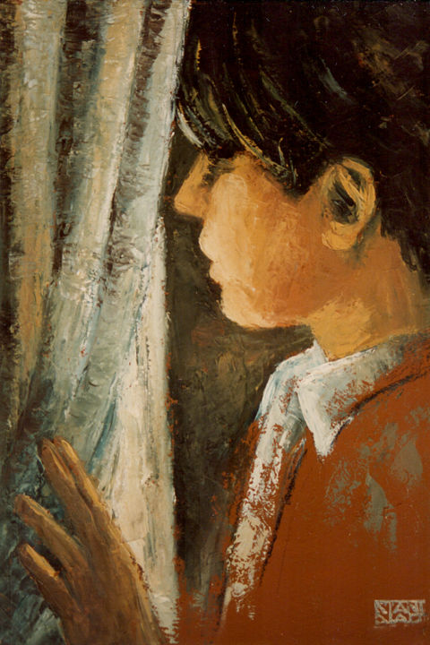 At the window - Painting,  27.6x19.7 in, ©1996 by Stanislao -                                                                                                                                                                                                                                                                                                                  Figurative, figurative-594, People, figurative, window, woman