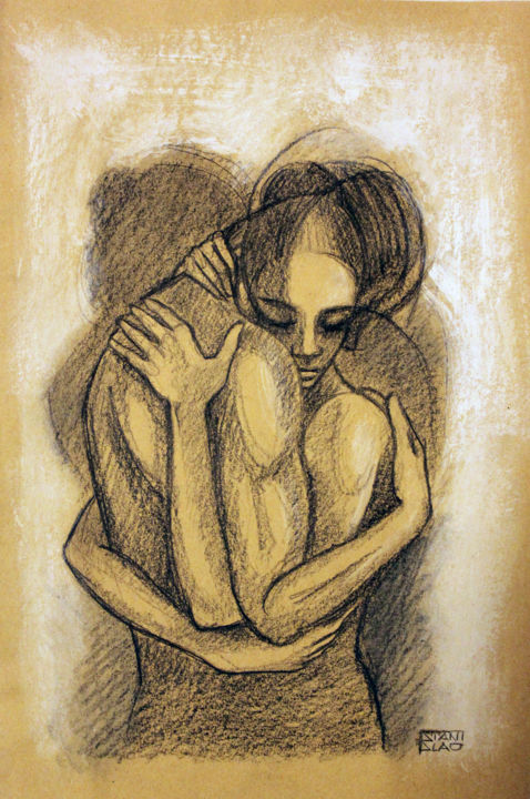 embrace_47 - Drawing,  15.8x11.8 in, ©2015 by Stanislao -                                                                                                                                                                                                                                                                                                                                                                                                                                                                                                  Figurative, figurative-594, artwork_cat.Love/Romance, Nude, People, embrace, love, figurative art, abbraccio, body