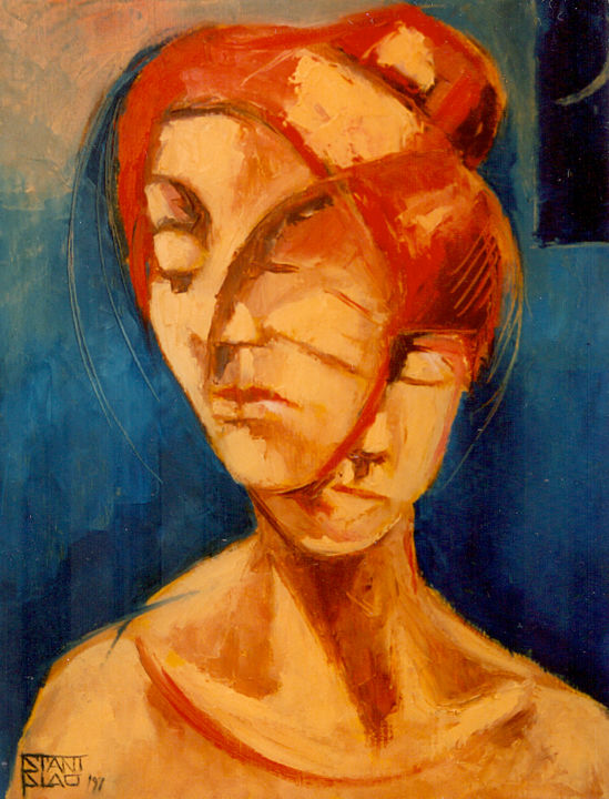Dualism - Painting,  23.6x19.7 in, ©1997 by Stanislao -                                                                                                                                                                                                                                                                                                                                                                                                                                                      Expressionism, expressionism-591, Nude, People, Women, dualism, figurative art, woman, dualismo