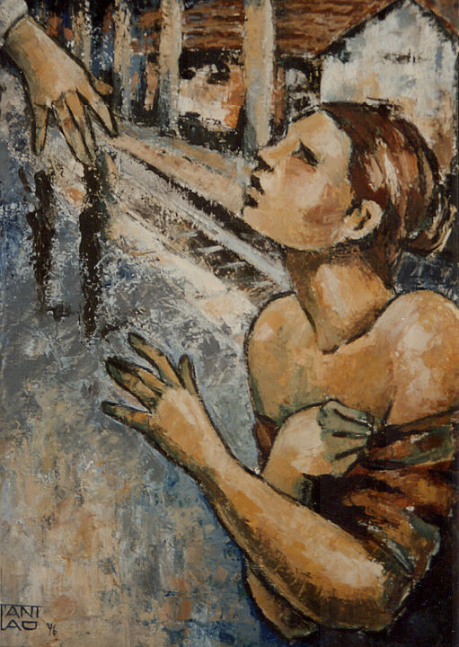 Departure - Painting,  31.5x23.6 in, ©1996 by Stanislao -                                                                                                                                                                                                                                                                                                                                                                                                                                                                                                  Abstract, abstract-570, People, Places, departure, la partenza, leaving, figurative art, expressionist art, arte figurativa