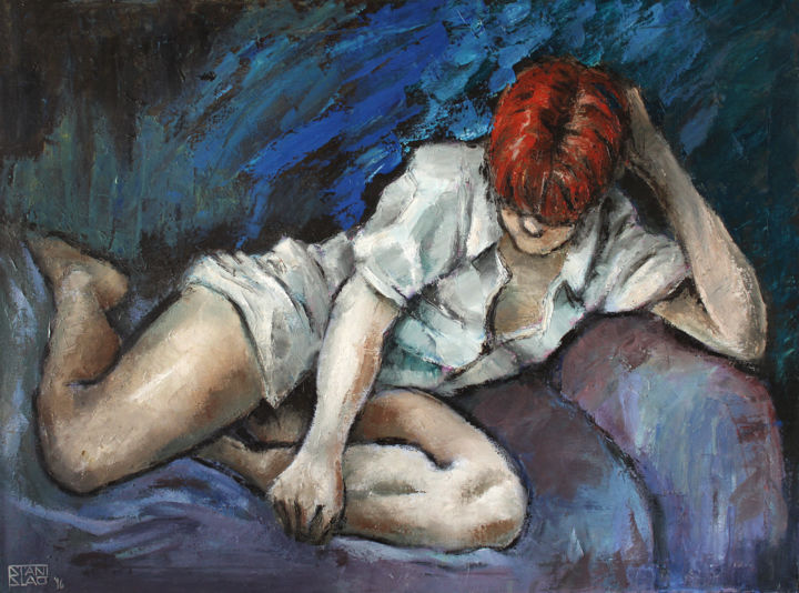 On the sofa - Painting,  23.6x31.5x0.8 in, ©1996 by Stanislao -                                                                                                                                                                                                                                                                                                                                                                                                          Figurative, figurative-594, Nude, nude, woman in shirt, oil on canvas, nudo, nu