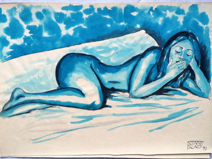 Lazy afternoon - Drawing,  13.8x19.7 in, ©1997 by Stanislao -                                                                                                                                                                                                                                                                                                                                                              Figurative, figurative-594, Nude, Women, nude, woman, figurative