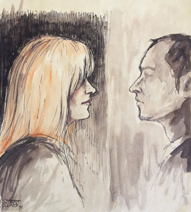Face 2 face - Drawing,  7.1x6.3 in, ©1997 by Stanislao -                                                                                                                                                                                                                                                                                                                  Figurative, figurative-594, artwork_cat.Love/Romance, love, romance, figurative