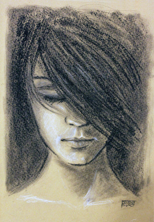 Face - Drawing,  16.9x11.8 in, ©2015 by Stanislao -                                                                                                                                                                                                                                                                                                                  Figurative, figurative-594, Women, face, woman, figurative