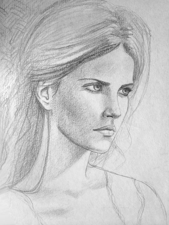 Face - Drawing,  19.7x13.8 in, ©1998 by Stanislao -                                                                                                                                                                                                                                                                                                                  Figurative, figurative-594, Women, face, woman, figurative