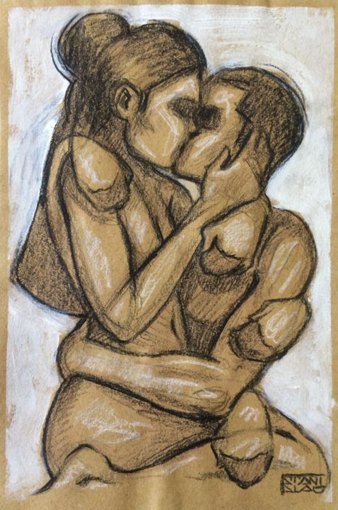 The Kiss - Drawing,  8.3x5.9 in, ©2015 by Stanislao -                                                                                                                                                                                                                                                                                                                                                                                                                                                      Figurative, figurative-594, artwork_cat.Love/Romance, kiss, bacio, love, amore, nude, nudo