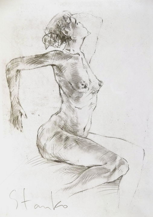 Female study-I - Drawing,  30x21 cm ©2016 by Stanislav Bojankov -                                                                                                                                    Classicism, Expressionism, Impressionism, Realism, Paper, Body, Erotic, Nude, Women, realism, erotic, nude, female, drawing, impressionism, black, white, pencil, sketch