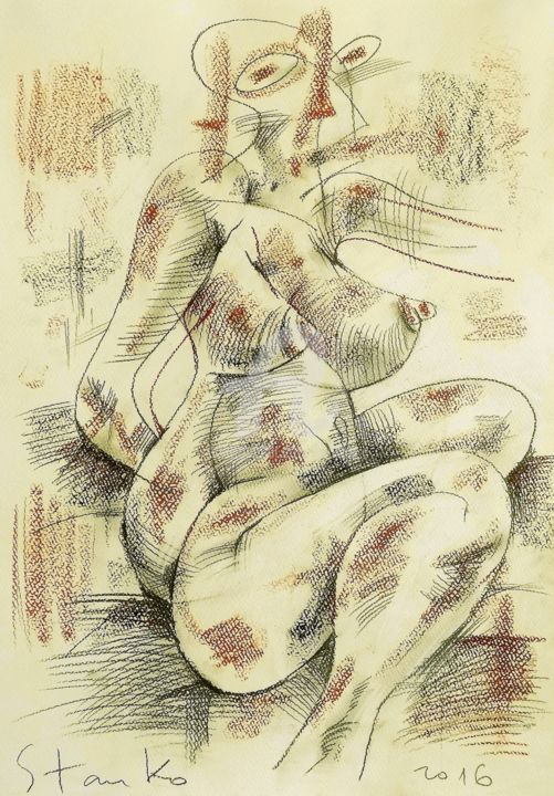 Act-X(homage to Picasso) - Drawing,  50x35 cm ©2016 by Stanislav Bojankov -                                                                                                                                                            Abstract Art, Contemporary painting, Cubism, Expressionism, Modernism, Paper, Abstract Art, Erotic, Love / Romance, Nude, Women, drawing, charcoal, mixed media, picasso, homage, cubism, body, yellow, black, sketch
