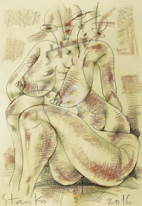 Act-XI(homage to Picasso) - Drawing,  50x35 cm ©2016 by Stanislav Bojankov -                                                                                                                                                            Abstract Art, Cubism, Expressionism, Modernism, Symbolism, Paper, Erotic, Love / Romance, Nude, Women, World Culture, drawing, yellow, picasso, homage, black, figurative, sketch, mixed media, pecil, pastel