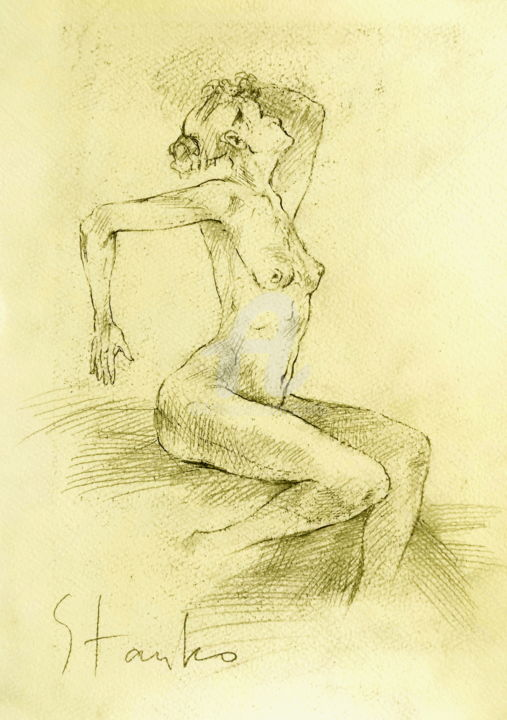 Female study-II - Drawing,  30x21 cm ©2016 by Stanislav Bojankov -                                                                                                                                                            Classicism, Expressionism, Figurative Art, Impressionism, Realism, Paper, Body, Erotic, Nude, Women, People, drawing, figurative, black, yellow, realism, classical, woman
