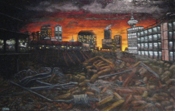 """Painting titled """"Woodwards #3"""" by Stanley Mishkin, Original Art, Oil"""