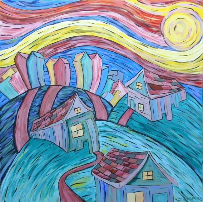 """Painting titled """"Sunny House"""" by Joshua Staples, Original Art, Oil"""
