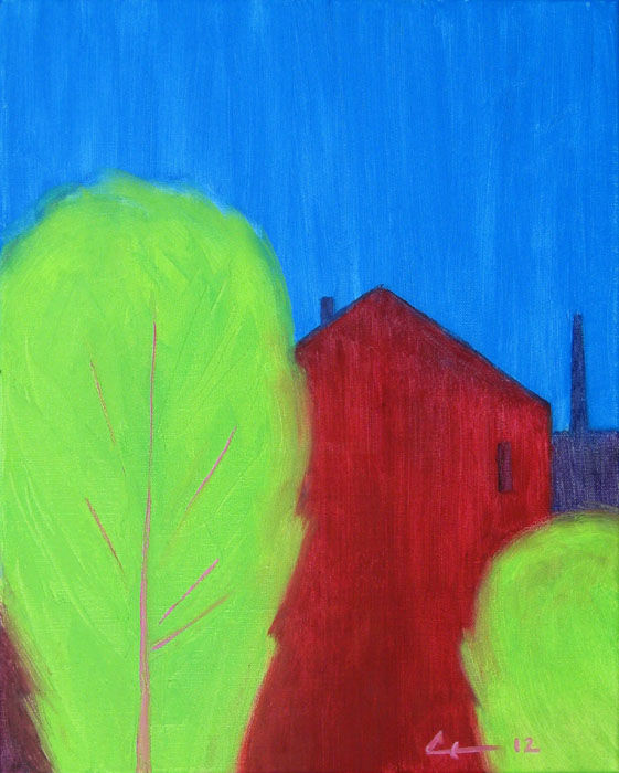 May - Painting,  50x40x3 cm ©2012 by Evgeniy Stasenko -                                                            Expressionism, Canvas, Landscape, Spring, city landscape, green trees, blue sky, red building