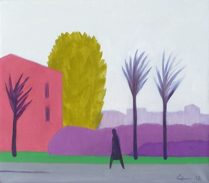 November - Painting,  60x70x3 cm ©2012 by Evgeniy Stasenko -                                                            Expressionism, Canvas, Landscape, man, naked trees, pink building, November