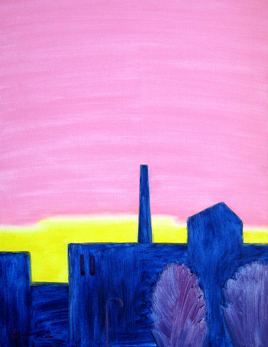 Sunrise - Painting,  80x60x3 cm ©2012 by Evgeniy Stasenko -                                                            Expressionism, Canvas, Landscape, City, landscape, pink, yellow, sky, blue, buildings