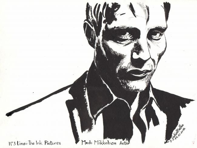 N°3 Line: The Ink Pictures Mads Mikkelsen Actor - Peinture,  42x32 cm ©2013 par Cornelie Statius Muller -                            Portraiture, Mads Mikkelsen portrait, The Ink Pictures, Cornelie Statius Muller