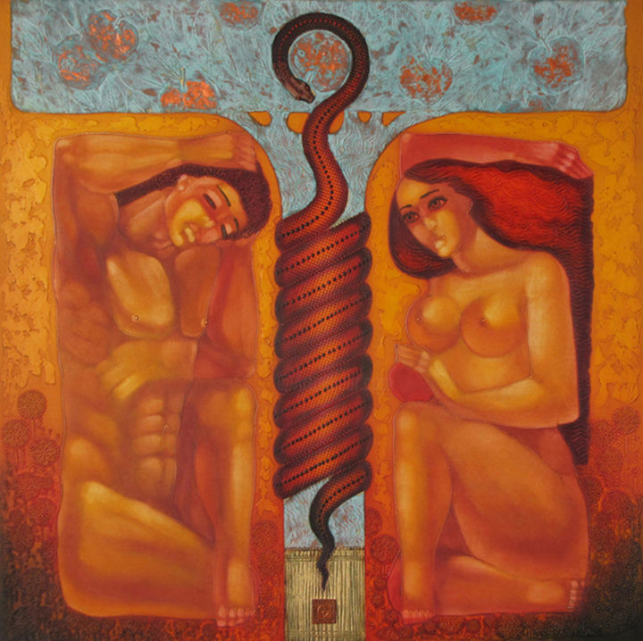 """Painting titled """"THE FIRST SIN"""" by Stefan Georgiev, Original Art, Oil"""