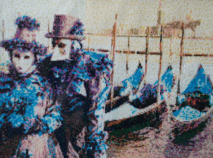 Coppia in blu - © 2011 Mosaic, Portrait, Venice carnival, Pearlmosaic, Seed bead mosaic Online Artworks