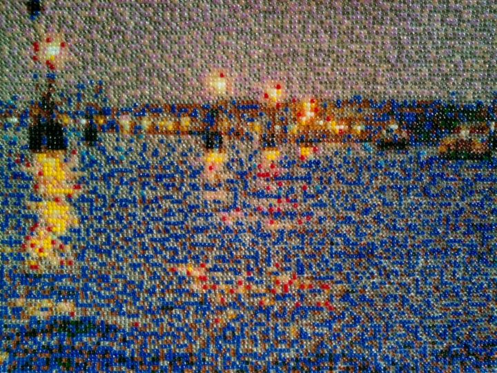 Laguna di Venezia all´imbrunire - Painting,  9.5x12.6x0.8 in, ©2011 by Stefano Di Marco -                                                                                                                                                                                                                                                                                                                                                                                                              Impressionism, impressionism-603, Glass, Seascape, Mosaic, Laguna, Pearlmosaic, Seed bead mosaic