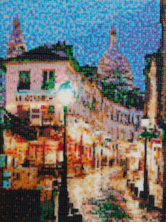 Montmartre - Mixed Media,  32x24x2 cm ©2011 by Stefano Di Marco -                                            Impressionism, Cities, Montmartre, Pearlmosaic, Mosaic