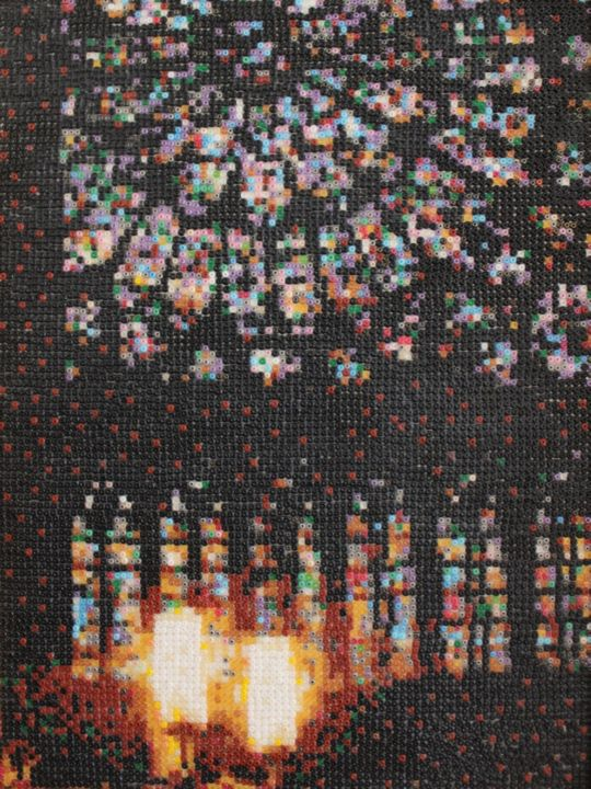 Notre-Dame interior - Mixed Media,  32x24x2 cm ©2012 by Stefano Di Marco -                                                                        Impressionism, Glass, Architecture, Landscape, Notre-dame seed bead mosaic