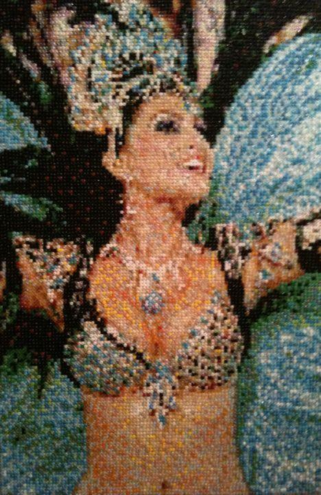 La brasiliana - Mixed Media,  48x34 cm ©2012 by Stefano Di Marco -                                                                                                Impressionism, Glass, Body, Erotic, Women, World Culture, seed bead mosaic, carnival