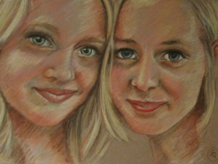 Saga e Isabell - Painting,  8.7x13.4 in, ©2011 by Stefano Di Marco -                                                                                                                                                                                                                      Impressionism, impressionism-603, Portraits, Women