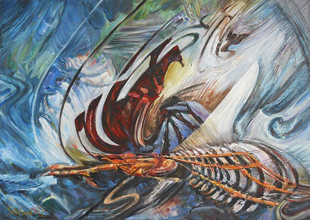 The Lost Ship IV - Painting,  70x50 cm ©2012 by Stefano Popovski -                            Abstract Art, abstract shipwreck