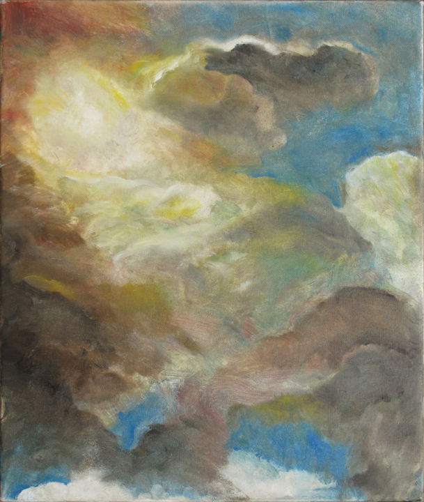 The sky of Icarus - Painting,  60x50x2 cm ©2016 by Stefano Zago -                                                            Environmental Art, Canvas, Abstract Art, cielo, luce naturale, sole