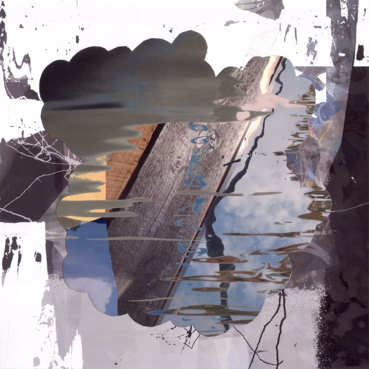 Row - Collages,  13.4x13.4x0.1 in ©2018 by Stefan Fransson -                                            Abstract Art, Abstract Art, Water, rowing, wood, boat, reflections