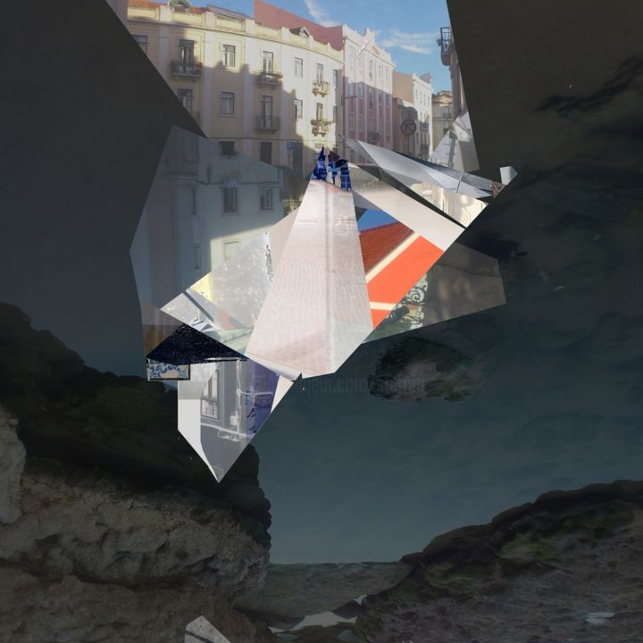 Coastal - Digital Arts,  16.5x16.5x0.1 in, ©2016 by Stefan Fransson -                                                                                                                                                                                                                                                                                                                                                                                                                                                                                                                                              Abstract, abstract-570, Abstract Art, Beach, Cityscape, Water, Lisbon, building, beach, water, cliffs