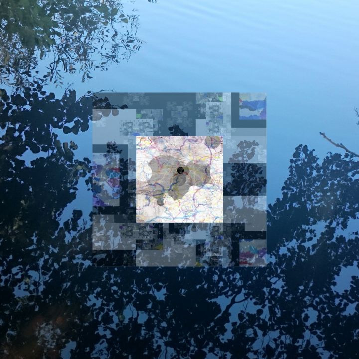 Untitled - Digital Arts,  19.7x19.7x0.1 in, ©20016 by Stefan Fransson -                                                                                                                                                                                                                                                                                                                                                                                                                                                                                                                                                                                                                                                                                  Abstract, abstract-570, Abstract Art, Nature, Patterns, Water, trees, reflections, moon, sky, water, lake, time, seasons