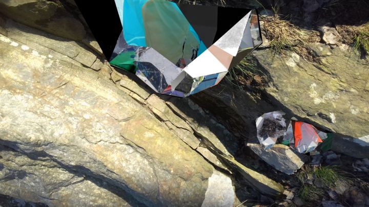 Untitled 2020-03-20 - Digital Arts,  15.8x28x0.1 in, ©2020 by Stefan Fransson -                                                                                                                                                                                                                                                                                                                                                                                                                                                                                                                                                                                          Abstract, abstract-570, Abstract Art, Geometric, Nature, Seasons, cliffs, seasons, rocks, ice, sun, nature