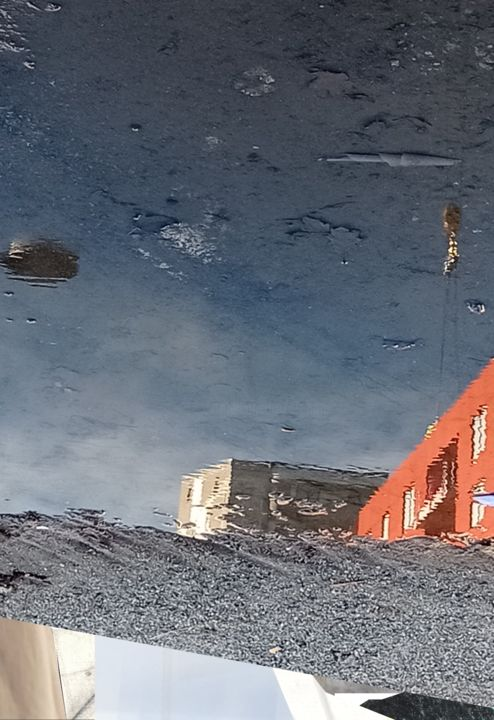 Untitled 2020-10-17 - Digital Arts,  13.4x8.3x0.1 in, ©2020 by Stefan Fransson -                                                                                                                                                                                                                                                                                                                                                                                                                                                                                                  Abstract, abstract-570, Landscape, Seasons, Tree, Water, buildings, water, puddle, mirror